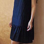 Одежда ручной работы. Ярмарка Мастеров - ручная работа Платье из льна темно-синее Арт.09, с оборкой без рукава. Handmade.