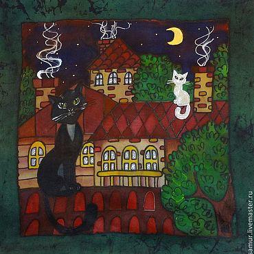 Для дома и интерьера ручной работы. Ярмарка Мастеров - ручная работа Наволочка на подушку с рисунком с котами шелковая наволочка 50 на 50. Handmade.