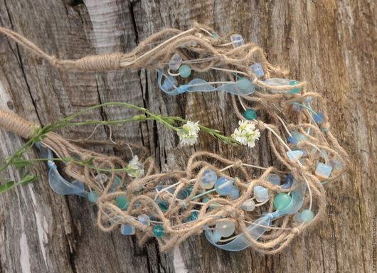 """Колье, бусы ручной работы. Ярмарка Мастеров - ручная работа. Купить Ожерелье """"Голубое утро"""" (бохо-стиль). Handmade. Голубой"""