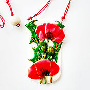 Украшения handmade. Livemaster - original item Pendant decoration of baked clay Poppy field. Handmade.