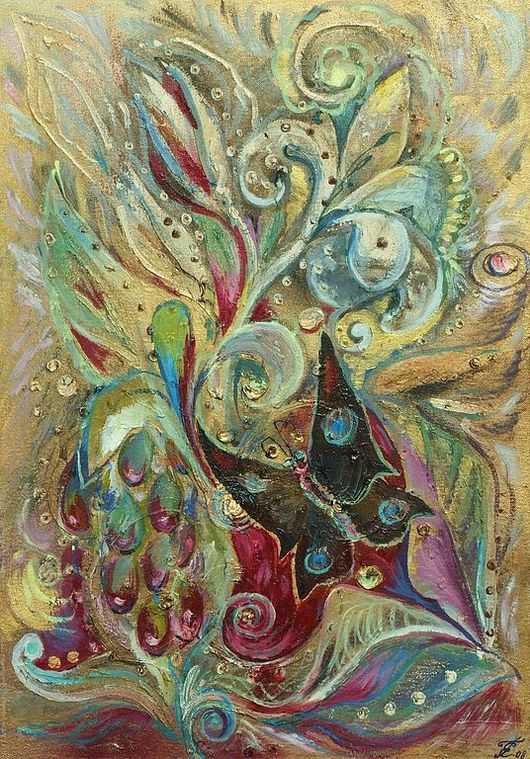 """Картины цветов ручной работы. Ярмарка Мастеров - ручная работа. Купить Картина """"Винная ягода"""".. Handmade. Ягода, бабочка, фэнтези"""