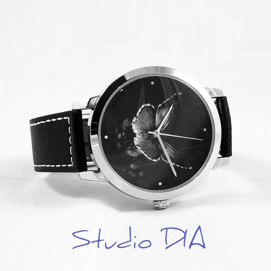 Часы Оригинальные Дизайнерские Наручные - Бабочка На Черном. Студия Дизайнерских Часов DIA.