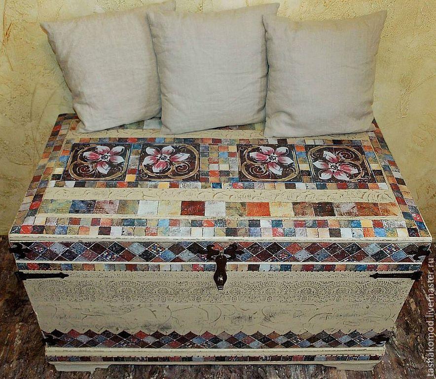 """Купить Сундук и панно """"Итальянская мозаика"""" (реставрация). - Мебель, комод, шкаф, авторская мебель"""