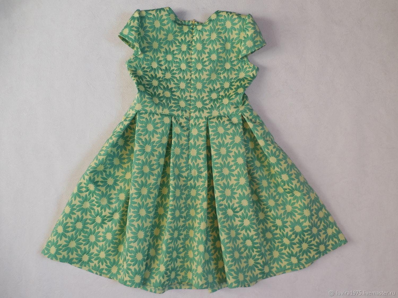 Рост 116. Нарядное жаккардовое зеленое платье. Стиляги