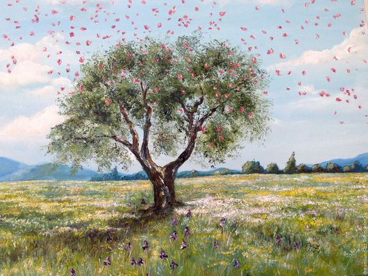 """Пейзаж ручной работы. Ярмарка Мастеров - ручная работа. Купить Картина маслом """" Summer bloom"""". Handmade. Салатовый, дерево"""