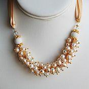 Украшения handmade. Livemaster - original item Pearl necklace of white pearls on a satin ribbon. Handmade.