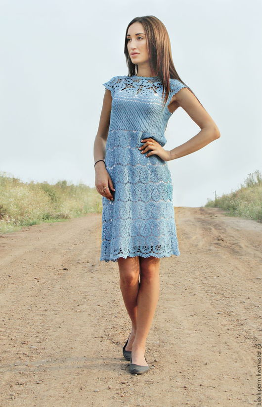 Платья ручной работы. Ярмарка Мастеров - ручная работа. Купить Платье вязанное крючком Брюггское кружево. Handmade. Голубой