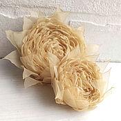 Украшения handmade. Livemaster - original item Two fabric flower. Brooch hairpin. beige rose. Handmade.