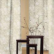 Ткани ручной работы. Ярмарка Мастеров - ручная работа Монохромный цветочный узор шторы на заказ. Handmade.
