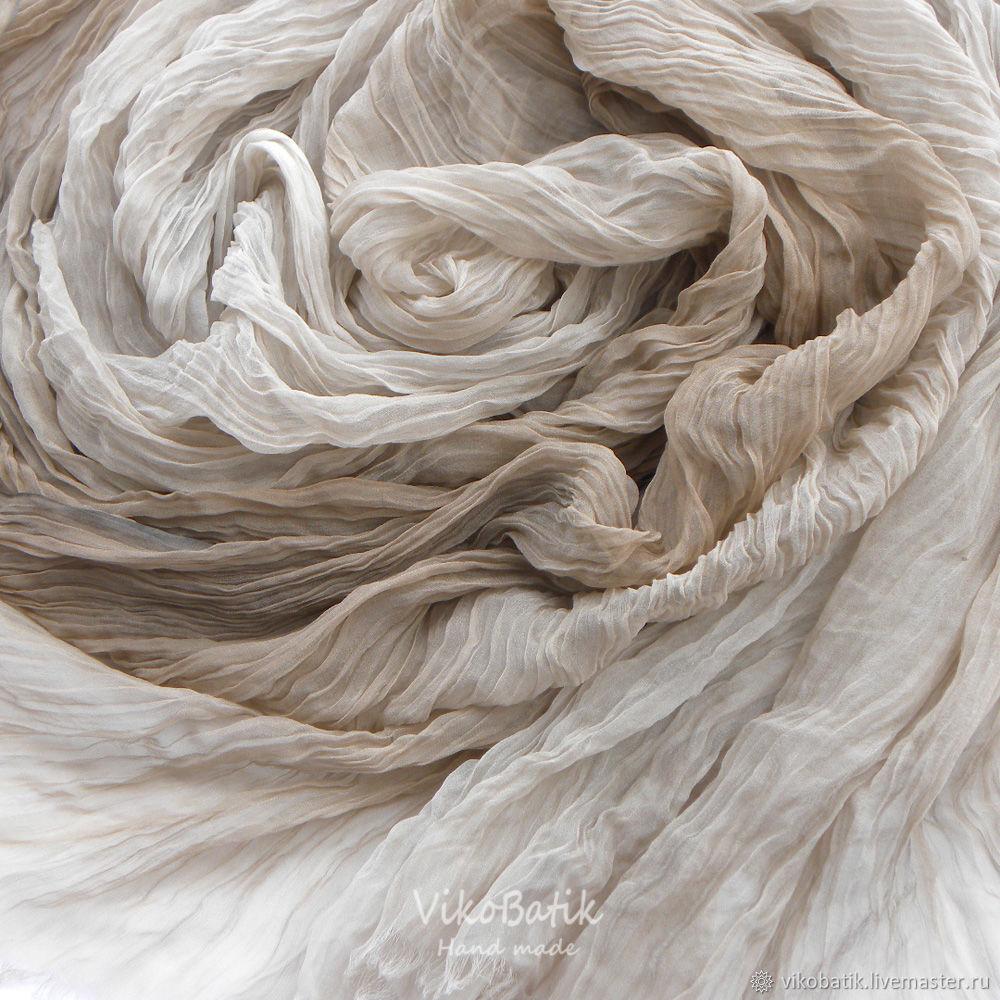 Scarf Stole Beige Pastel Pressed silk 100%, Scarves, Kislovodsk,  Фото №1