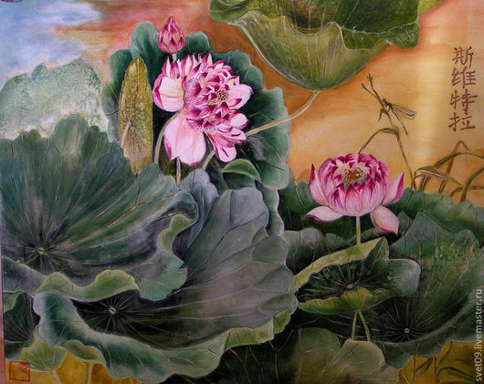 Картины цветов ручной работы. Ярмарка Мастеров - ручная работа. Купить Прекрасные. Handmade. Зеленый, цветы лотоса, листья лотоса