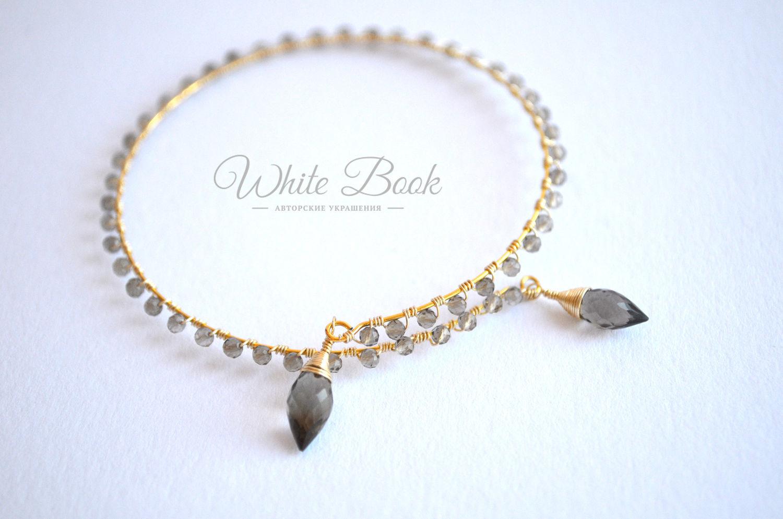 Bracelet with Topaz, gold plated, bracelet cuff, bracelet shoulder, Bead bracelet, Moscow,  Фото №1