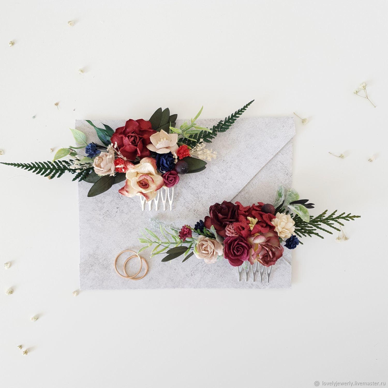 Гребень для волос - Burgundy Flower, Украшения, Краснодар, Фото №1