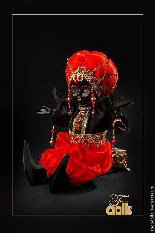 Коллекционные куклы ручной работы. Ярмарка Мастеров - ручная работа. Купить Кукла махараджа в красно-чёрном. Handmade. Красный, черный