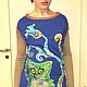 """Платья ручной работы. Ярмарка Мастеров - ручная работа. Купить Платье """"Сова"""". Handmade. Разноцветный, дизайнерская одежда, молодежная одежда"""