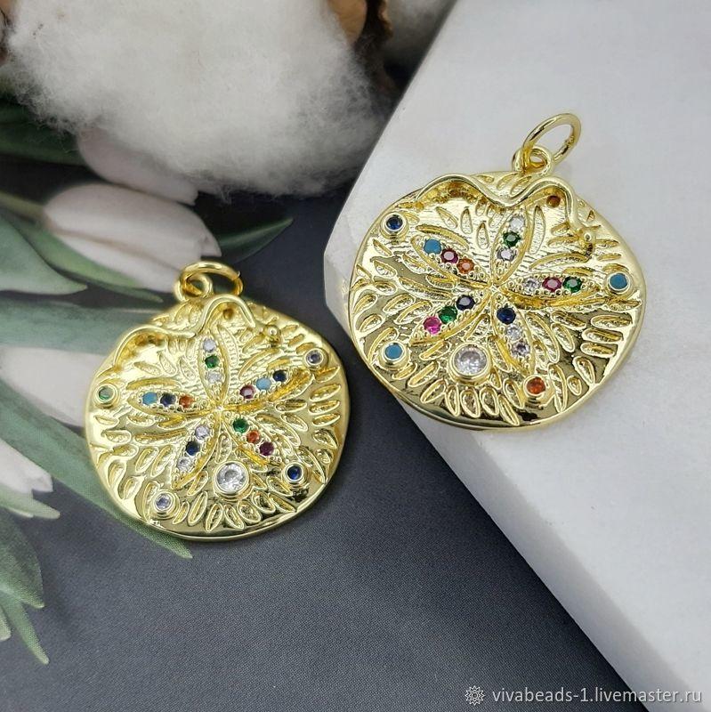 Pendant with zircons 22.5x19.5 mm gold plated (5078), Pendants, Voronezh,  Фото №1