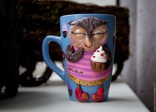 Персональные подарки ручной работы. Ярмарка Мастеров - ручная работа. Купить Кружка совушка с кексиком. Handmade. Розовый, кексик