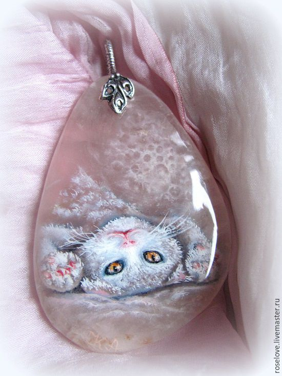 Pendant with painting on stone ' Life is getting better ', Pendants, Moscow,  Фото №1
