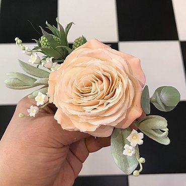 Свадебный салон ручной работы. Ярмарка Мастеров - ручная работа Гребень с розой, ландышами и эрингиумом из полимерной глины. Handmade.
