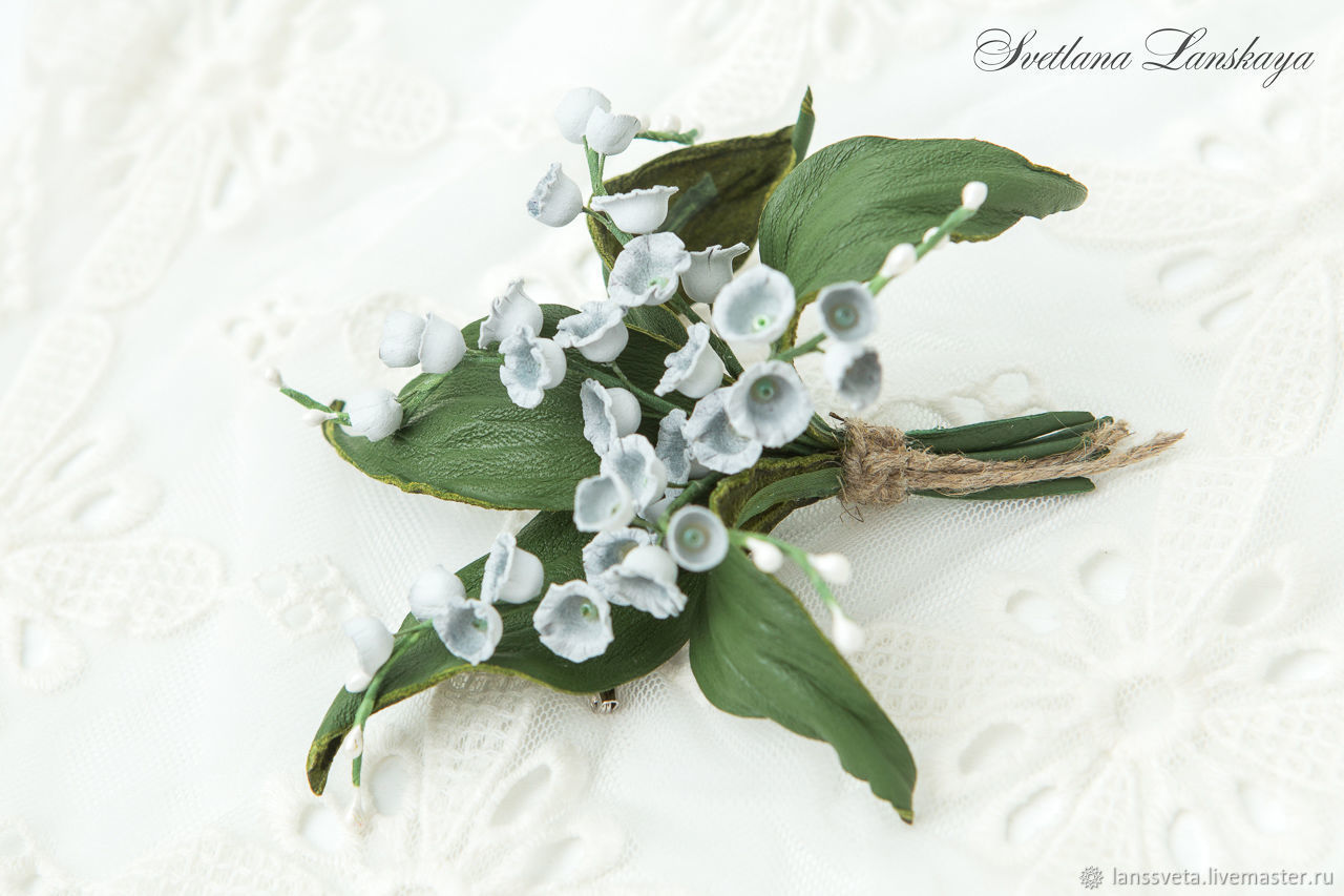 Brooch-boutonniere of lilies of the skin. Decoration leather, Brooches, Bobruisk,  Фото №1