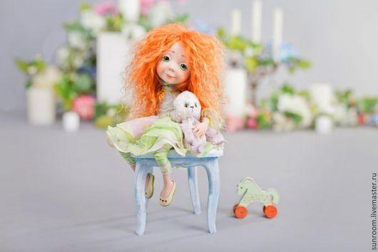 Коллекционные куклы ручной работы. Ярмарка Мастеров - ручная работа. Купить Даринкино счастье. Handmade. Девочка с мишкой, мини мишка