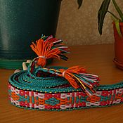Русский стиль handmade. Livemaster - original item Cinturón tejido con borlas Mujer. Handmade.