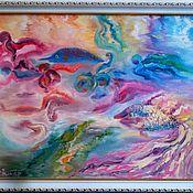 """handmade. Livemaster - original item Картина маслом абстрактная живопись """"Дайвинг"""". Handmade."""