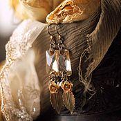 """Украшения ручной работы. Ярмарка Мастеров - ручная работа Серьги """"Желтая роза"""" в винтажном стиле. Handmade."""