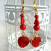 Украшения handmade. Livemaster - original item Gold-plated earrings with druze agate and coral. Handmade.