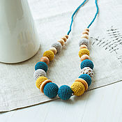 Одежда handmade. Livemaster - original item Slingobusy crochet Turquoise with mustard. Handmade.