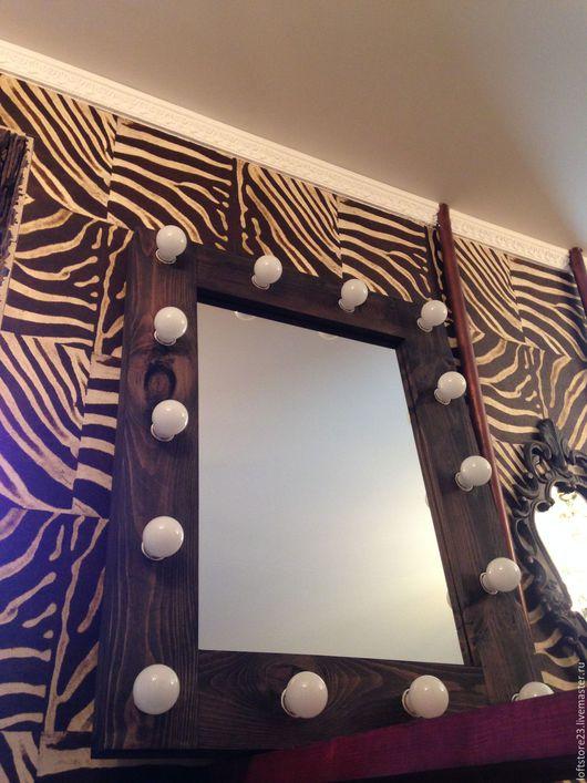 Зеркала ручной работы. Ярмарка Мастеров - ручная работа. Купить Гримерное зеркало ESPRESSO в широкой раме. Handmade. Коричневый, сосна