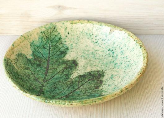 Тарелки ручной работы. Ярмарка Мастеров - ручная работа. Купить Тарелка керамическая  Лист -2. Handmade. Зеленый, глиняная посуда