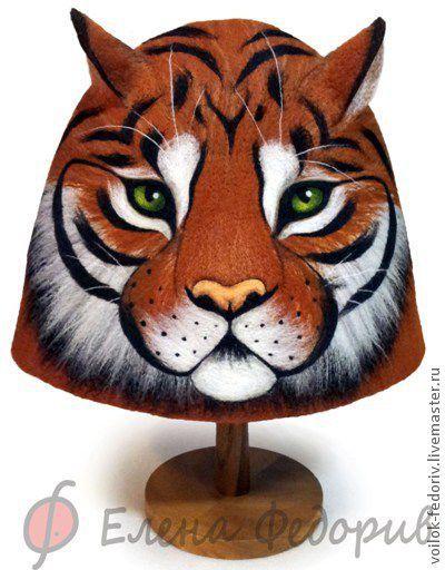 """Банные принадлежности ручной работы. Ярмарка Мастеров - ручная работа. Купить Шапка для бани """"Тигр"""". Handmade. Рыжий, подарок, тигр"""