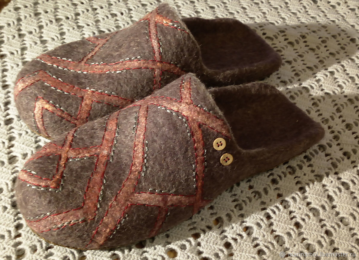 Mens felted Slippers Intersections, Slippers, Miass,  Фото №1
