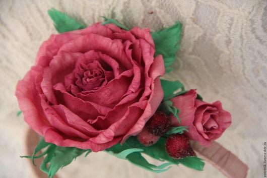 """Диадемы, обручи ручной работы. Ярмарка Мастеров - ручная работа. Купить Ободок с розой из фоамирана """"Розовая мятность""""). Handmade. Розовый"""