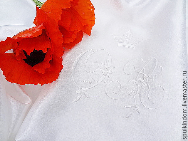 Satin pouch for lingerie  embroidered monograms from A to z  `Sulkin house` embroidery workshop