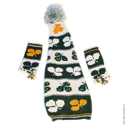 """Комплект """"Ирландский гном"""" (03-29) Set """"Irish gnome"""" (Hat and mittens) (03-29)"""
