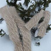 Аксессуары handmade. Livemaster - original item Down set of leg Warmers and mittens. Handmade.