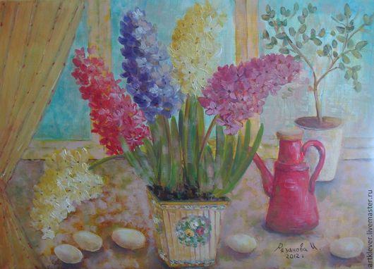 """Картины цветов ручной работы. Ярмарка Мастеров - ручная работа. Купить картина """"Неожиданные гиацинты"""". Handmade. Гиацинты, Пасха, весна"""