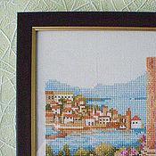 """Картины и панно ручной работы. Ярмарка Мастеров - ручная работа Вышивка """"На балконе"""". Handmade."""