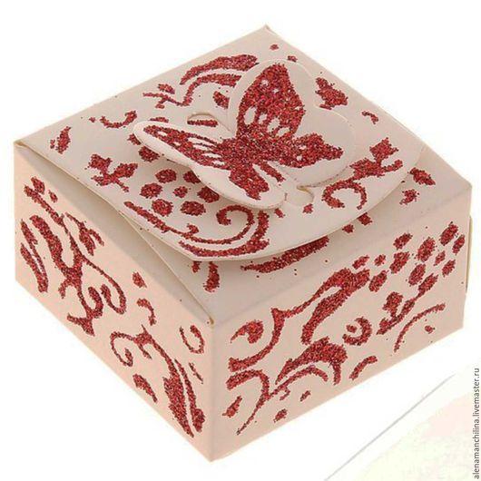 """Упаковка ручной работы. Ярмарка Мастеров - ручная работа. Купить Подарочная коробочка """"Бабочка с блёстками"""", размер 5 х 5 х3 см.. Handmade."""