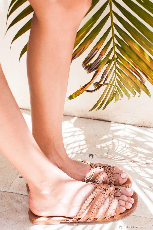 Обувь ручной работы. Ярмарка Мастеров - ручная работа. Купить Fairy Kiss. Плетёные кожаные сандалии - слайды. Мюли. Handmade.