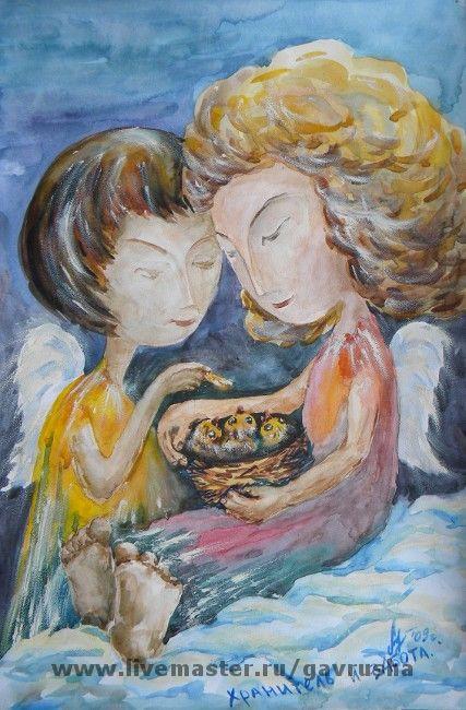Фэнтези ручной работы. Ярмарка Мастеров - ручная работа. Купить Хранитель и забота. Handmade. Ангел, ангелы, девушка, птица, облако