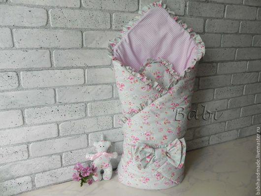 """Для новорожденных, ручной работы. Ярмарка Мастеров - ручная работа. Купить Конверт-одеяло """"Розы и мята"""". Handmade. Мятный, розы"""