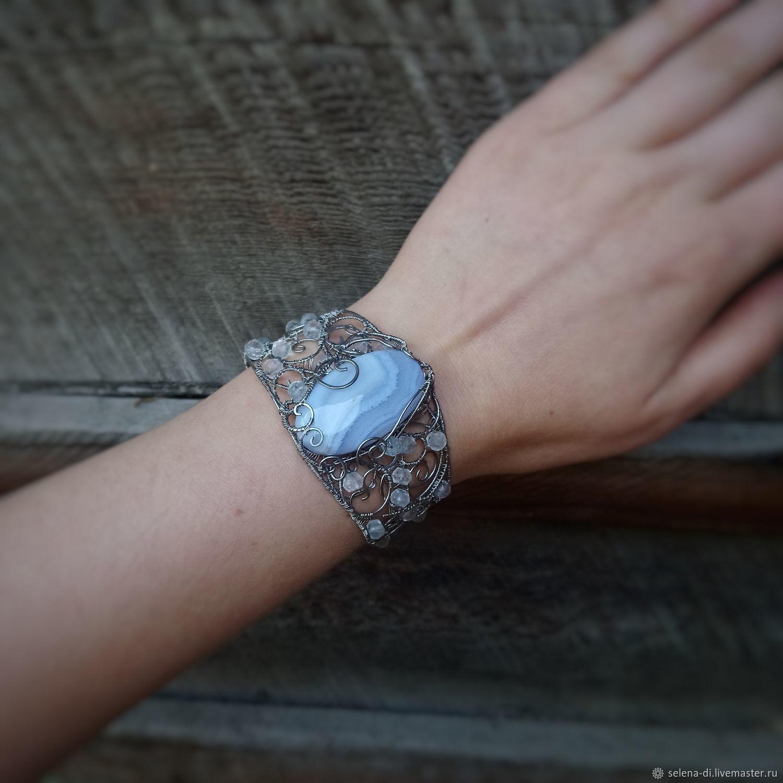 Bracelet with blue agate sapphirine and aquamarines, Hard bracelet, Bratsk,  Фото №1
