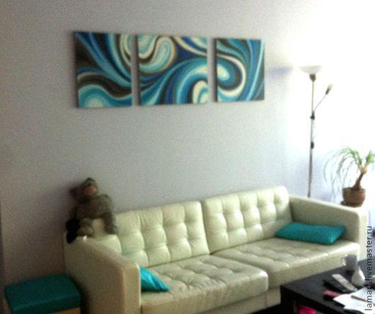 """Абстракция ручной работы. Ярмарка Мастеров - ручная работа. Купить Триптих """"Течение"""". Handmade. Живопись, на стену, голубой, вода, воздух"""