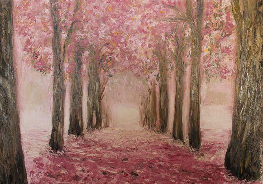 Пейзаж ручной работы. Ярмарка Мастеров - ручная работа. Купить Сакура цветет. Handmade. Коралловый, розовый цвет, аллея, сакура