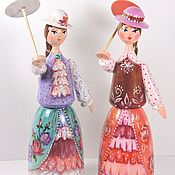 Куклы и игрушки handmade. Livemaster - original item Milochka, doll with umbrella, hand-painted doll, wooden toy. Handmade.