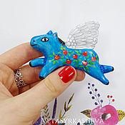 Украшения handmade. Livemaster - original item Brooch flying horse made of polymer clay. Handmade.