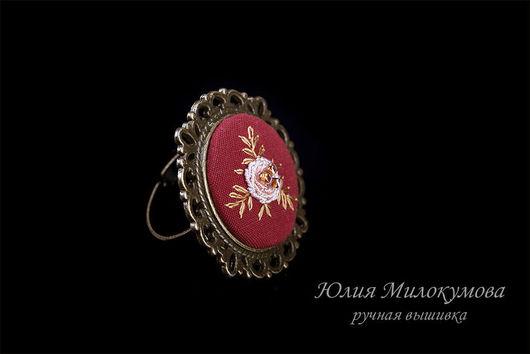 Кольца ручной работы. Ярмарка Мастеров - ручная работа. Купить Кольцо из коллекции Ветка пальмы. Handmade. Коралловый, ручная вышивка